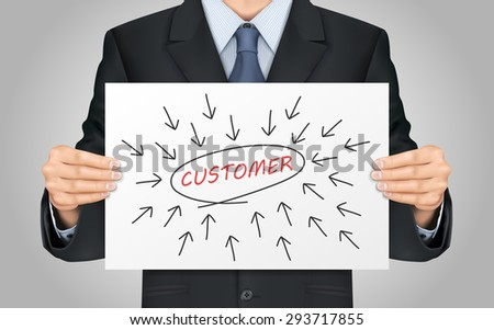 close-up look at businessman holding customer word poster - stock photo