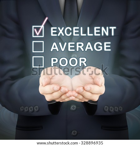 close-up look at businessman holding feedback survey - stock photo