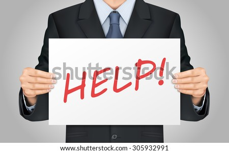 close-up look at businessman holding help word poster - stock photo