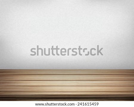 close-up look at empty interior wall with wooden table