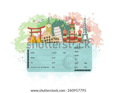close-up look at flight ticket with famous monument around the world - stock photo
