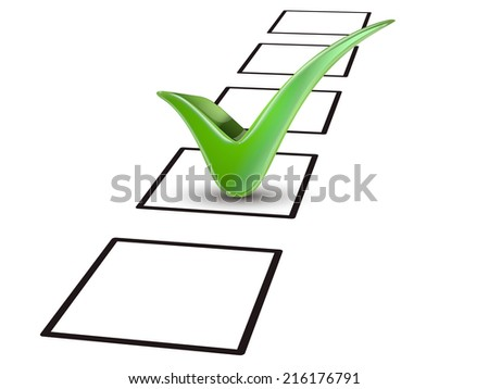 close up look at green tick marking on the check box - stock photo