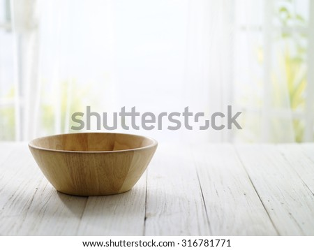close-up look at wooden bowl with morning bright