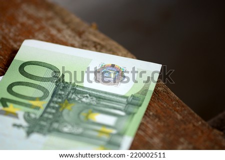 Close up macro detail of euro money banknotes