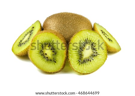 Close up macro kiwi fruit slices cut isolated on white background