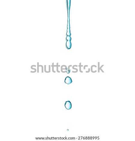 Close-up macro of a water drop droplet - isolated over white background - cool cold tone - stock photo