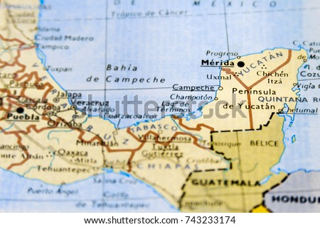 Closeup Macro Map Mexico Focus On Stock Photo 743233174 Shutterstock