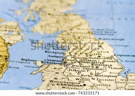 close up macro of map of uk with focus on manchester