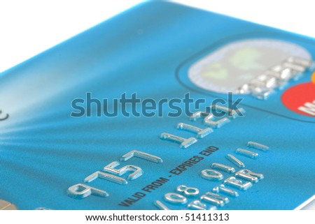 Close up macro photo of a credit debit card - stock photo