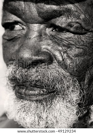 Close up macro photo of a old African man with a very caracterful face - stock photo