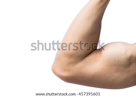 Close up, macro photo strong arms of asia male on white background with clipping path