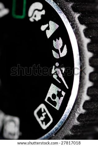 close up macro shot of a camera dial - stock photo