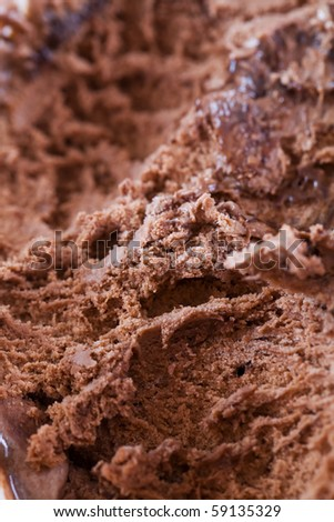 Close up macro shot of chocolate ice cream - stock photo
