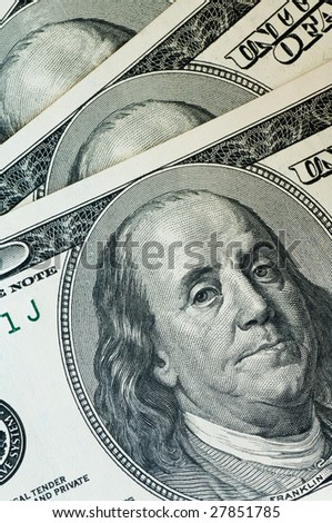 close up macro shot of 100 dollar banknotes