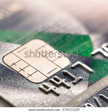Close Up Macro Shot With Credit Card - stock photo