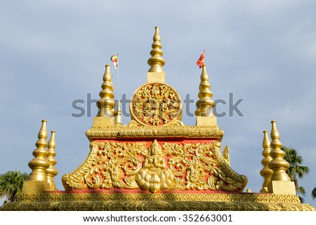 Close-up main gate of Khmer temple in Hanoi, Vietnam - stock photo
