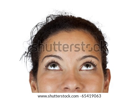 Close-up makro of a happy woman looking up. Isolated on white background. - stock photo