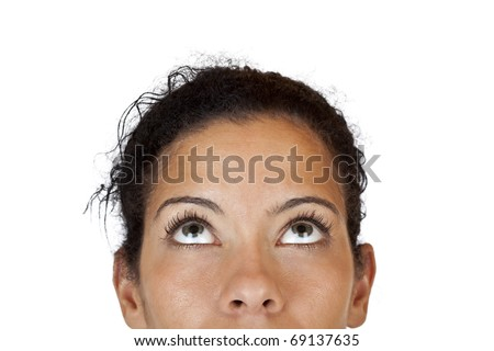Close-up makro of woman looking up. Isolated on white background. - stock photo
