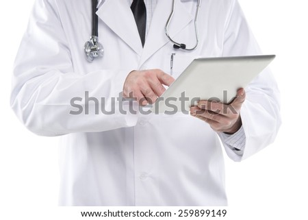 Close up male medical doctor using digital tablet pc. Isolated on white - stock photo
