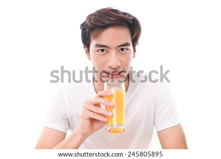 Close up Man drinking orange juice isolated - stock photo