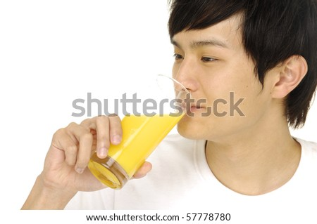 Close up Man drinking orange juice isolated
