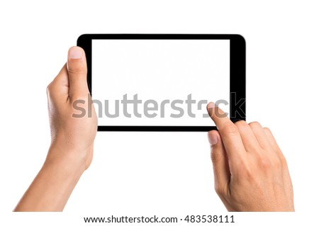 Close up man hands using tablet while touching white screen. Man holding digital tablet with blank screen isolated over white background. Man hand using and showing black tablet computer horizontally.
