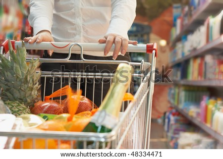 Close up market handcart with food articles in woman hand in shop - stock photo