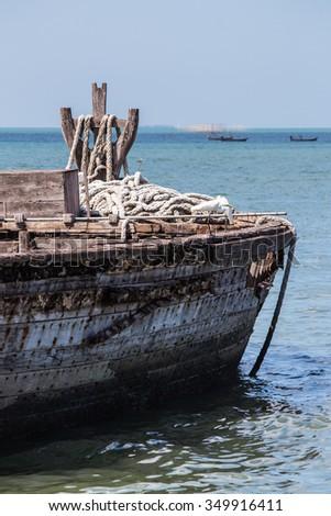 Close up mast on old fishing boat. - stock photo