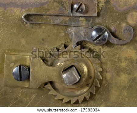 Close-up mechanism of old clock - stock photo