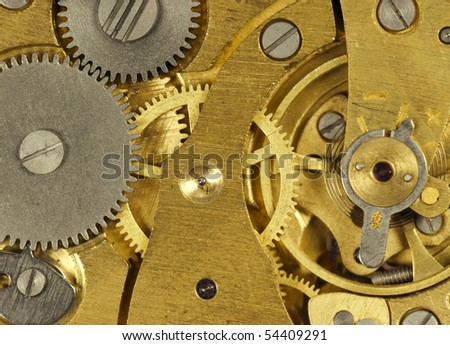 Close-up mechanism of old watch - stock photo