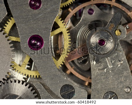 Close-up mechanism of old watch. Photo macro - stock photo