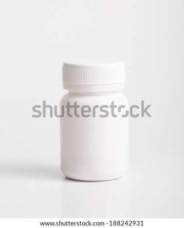 Close up medical container with white background - stock photo