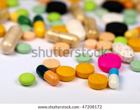 close-up medical pills and tablets background
