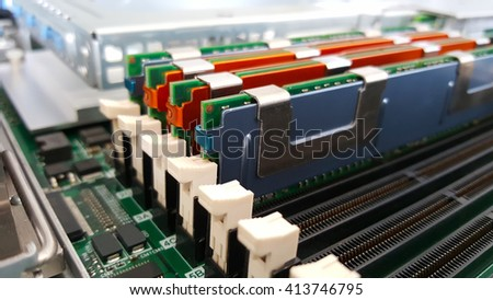 Close up memory socket on board computer server