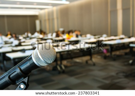 close up microphone in meeting room. - stock photo