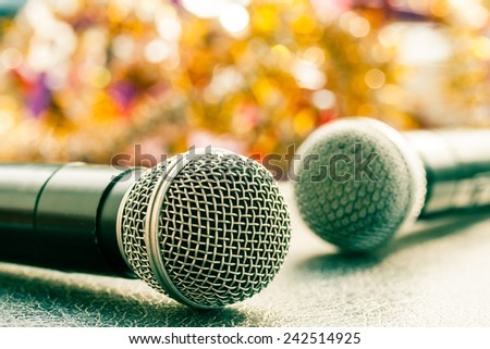 close up microphone on table. - stock photo