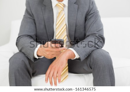 Close up mid section of an elegant young businessman text messaging on sofa at home - stock photo