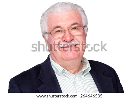 Close up Middle Age Man Wearing Business Suit and Eyeglasses Smiling at the Camera, Isolated on White Background. - stock photo