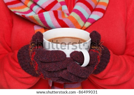 Close up midriff photo of a woman wearing a red jumper, woolen gloves and a scarf holding a mug full of hot chocolate, good image to convey a feeling of winter and warmth. - stock photo