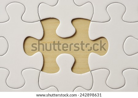Close Up Missing Puzzle - stock photo