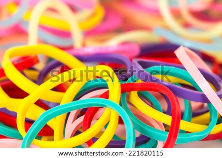 close up mixed color of elastic band , selective focus