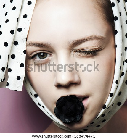 close up model face make up portrait - stock photo