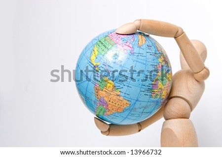 Close up model hold earth in air
