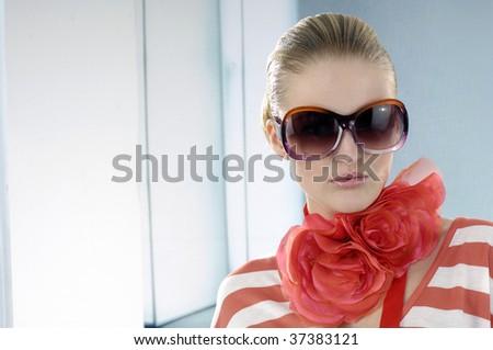 Close up model wearing the big sunglass - stock photo