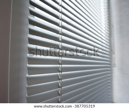 close-up modern plastic Shutter Blinds in room