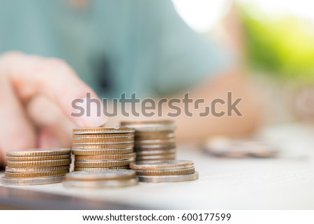 Close up money coins stack in saving money and growing, Concept save money Finance