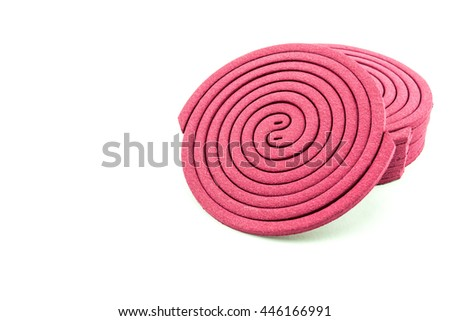 Close up mosquito coil isolated on white background