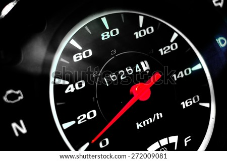 Close up motorcycle dashboard - stock photo