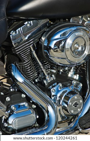 close-up motorcycle engine - stock photo