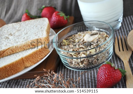 Close up muesli bowl with bread and milk for breakfast